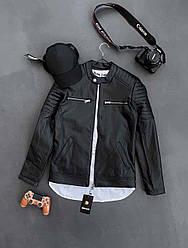 Мужская кожанка осенняя для парней (черный) демисезонная стильная куртка sс81