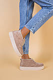 Черевики жіночі замшеві бежеві зимові, фото 3