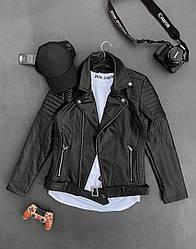Мужская кожанка осенняя для парней (черный) демисезонная модная куртка sс85