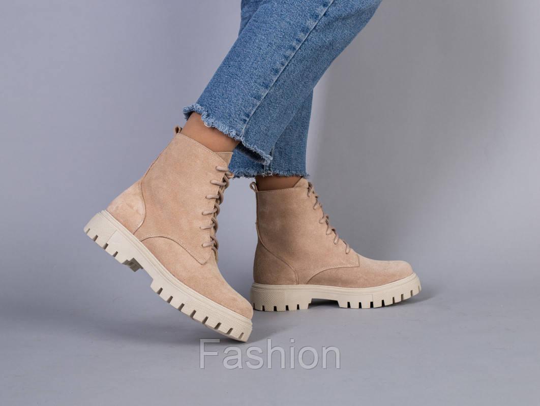 Ботинки зимние женские замшевые бежевые
