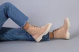 Ботинки зимние женские замшевые бежевые, фото 6