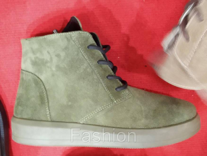 Ботинки женские из нубука хаки зимние