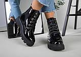 Ботинки женские кожа лак черные зимние, фото 2