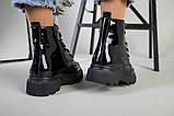 Ботинки женские кожа лак черные зимние, фото 6
