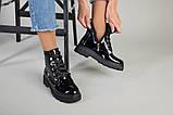 Ботинки женские кожа лак черные зимние, фото 7