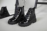 Ботинки женские кожа лак черные зимние, фото 8