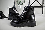 Ботинки женские кожа лак черные зимние, фото 9