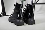 Ботинки женские кожа лак черные зимние, фото 10