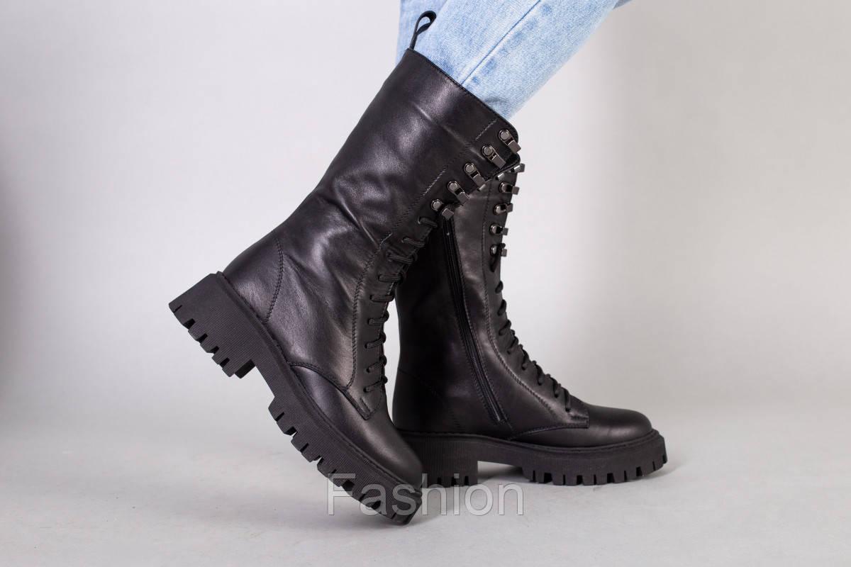 Черевики жіночі шкіряні чорного кольору зі шнурівкою