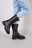 Черевики жіночі шкіряні чорного кольору зі шнурівкою, фото 2