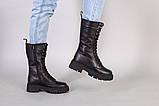 Черевики жіночі шкіряні чорного кольору зі шнурівкою, фото 3