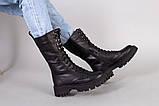 Черевики жіночі шкіряні чорного кольору зі шнурівкою, фото 4