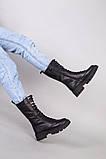 Черевики жіночі шкіряні чорного кольору зі шнурівкою, фото 6