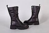 Черевики жіночі шкіряні чорного кольору зі шнурівкою, фото 7