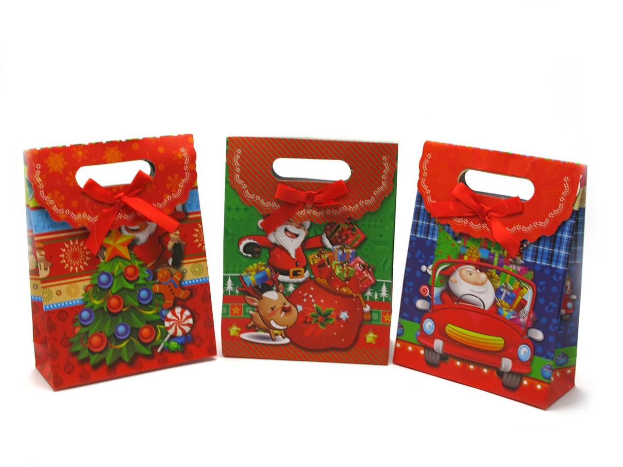 Картонный пакет подарочный на липучке Новый Год 12 шт. в 1 упаковке