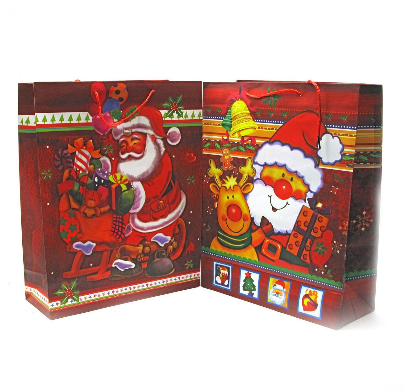 Огромный подарочный пакет Дед Мороз 12 шт. в 1 упаковке