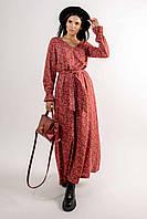 Выразительно женственное платье Лина свободного силуэта длиной макси 42-56 размер разные цвета