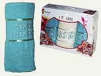 Махровое полотенце для лица и бани в наборе 3-ка 2-50х90см 1-70х140см (Турция)