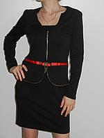 Стильное платье для офиса с длинным рукавом трикотаж 2 цвета Irena Richi (реплика) рр. L, XL