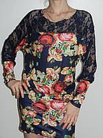 Платье короткое с рукавами с принтом - вышивкой розы и гипюром Eileens Китай рр. 44 - 46