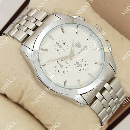 Яркие наручные часы Rolex 027 Silver/White 1020-0151