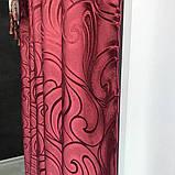 Готовый комплект жаккардовых Турецких штор с ламбрекеном 150х270 см ( 2шт ) Цвет - Бордовые, фото 5