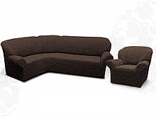 Чехлы для мебели Milano угловой диван и кресло буклированный жаккард без оборки Коричневый