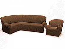 Чехлы для мебели Milano угловой диван и кресло буклированный жаккард без оборки Горячий шоколад