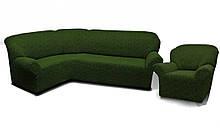 Чехлы для мебели Milano угловой диван и кресло буклированный жаккард без оборки Зеленый
