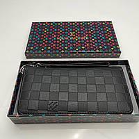 Мужской кошелек Louis Vuitton / Кожаный клатч-кошелек Луи Виттон для мужчин / Портмоне премиум качества