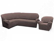 Чехлы для мебели Milano угловой диван и кресло буклированный жаккард без оборки Какао