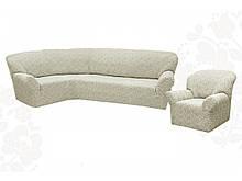 Чехлы для мебели Milano угловой диван и кресло буклированный жаккард без оборки Натуральный