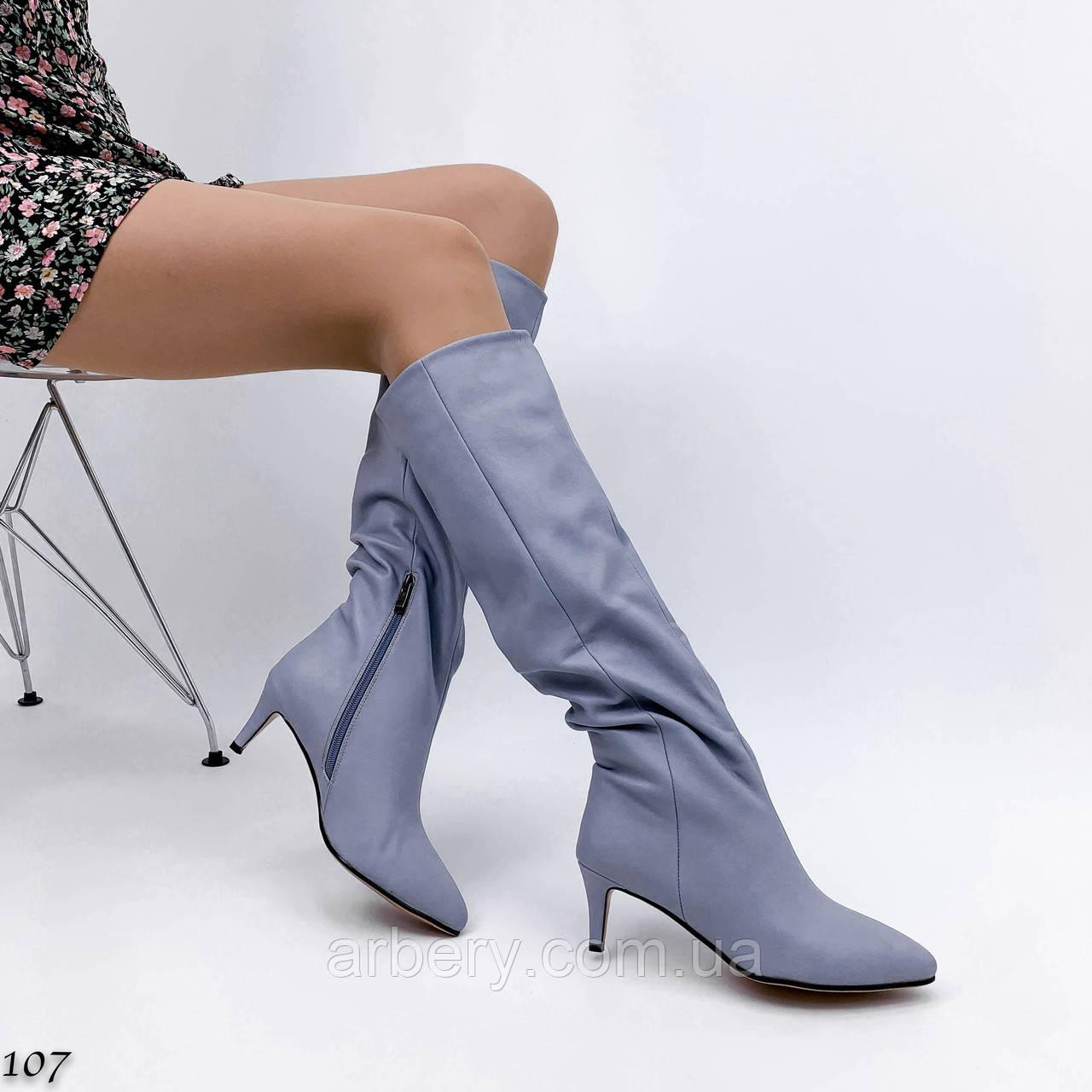 Женские классические сапожки на низком каблуке