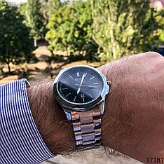 Часы мужские кварцевые серебристые наручные в стиле Boss с датой   Часы мужские металлические на подарок