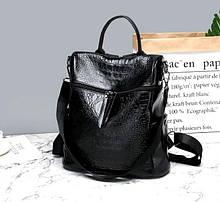 Молодіжний жіночий рюкзак сумка 2 в 1 ПУ шкіра Aliri-00114 чорний