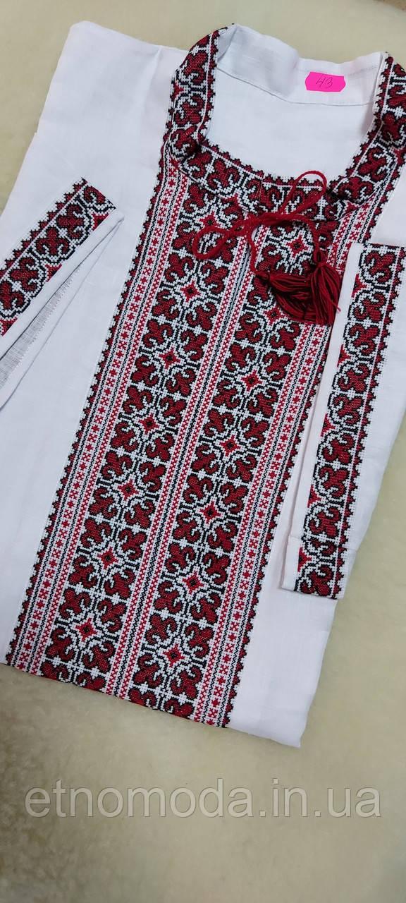 New Вышиванка мужская на белом льне (ручная, короткий рукав, кокетка)