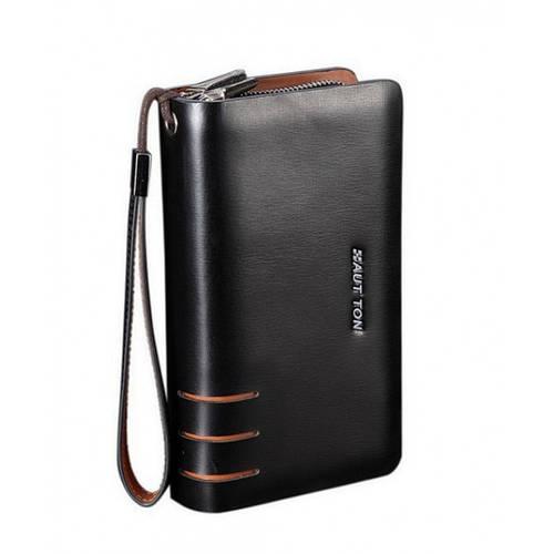Практичный кожаный клатч для мужчин HAUTTON SZB19A черный
