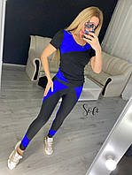 Шикарний фітнес-костюм з кольоровими вставками