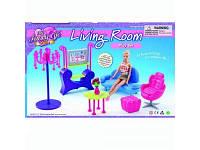 Мебель для куклы (гостинная, диван, кресло, столик, пуфик, торшер, телевизор)  2904 Gloria