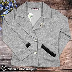 Серые пиджаки для девочек Размеры: 116,128,140,152,164 см (02332-2)