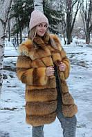 Шуба из лисицы с воротником стойка длинная размер 46 можно и под заказ ваш размер