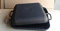 Сковорода гриль чугунная квадратная, с крышкой сковородой Ситон, 280мм*280мм, h=40мм