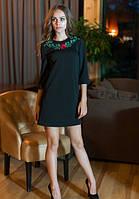 Платье черное,Черное женское платье с вышивкой