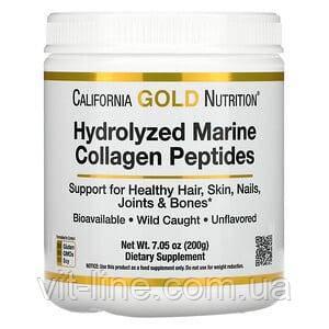 Гидролизованные пептиды морского коллагена, без добавок, 200 г California Gold Nutrition,