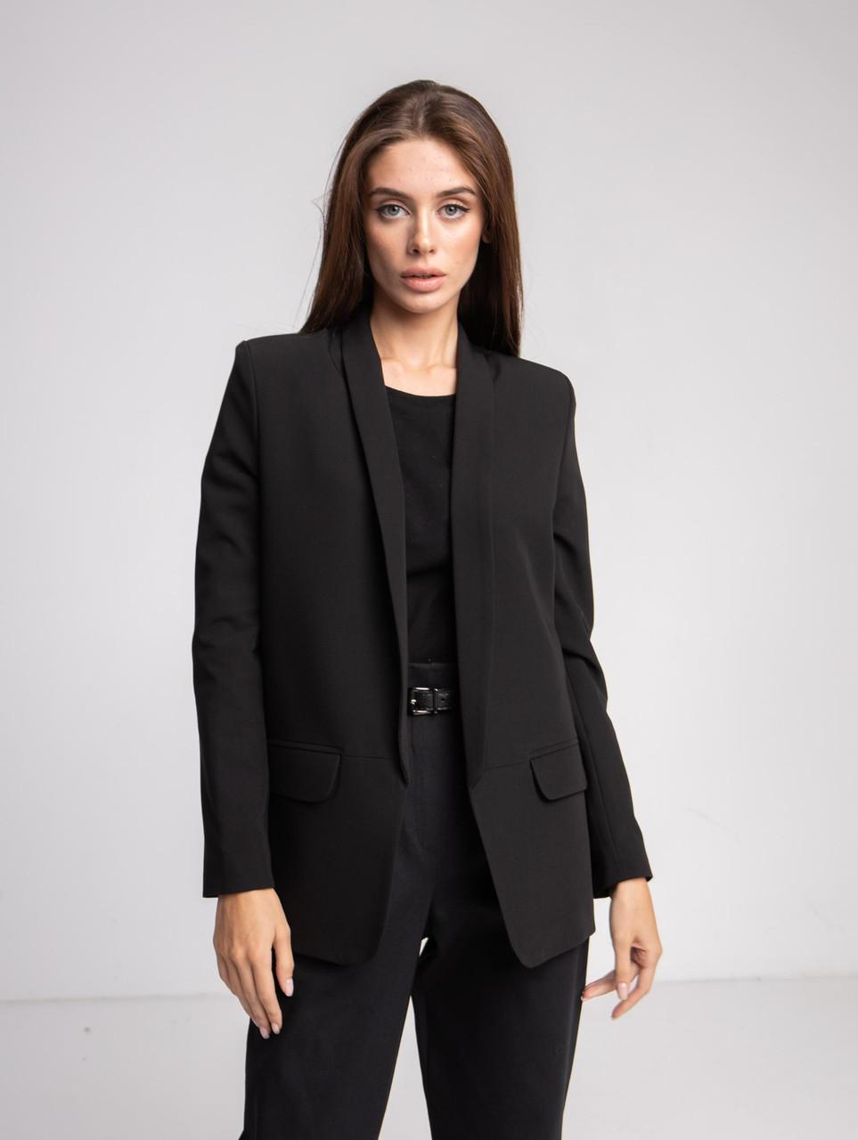 Піджак жіночий чорний подовжений oversize SIM MKS-0102