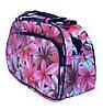 Женская дорожная сумка кожзам цветы большая -L 53х29х18