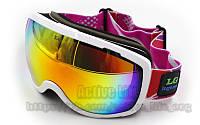 Окуляри гірськолижні LG (акрил, пластик, PL, подвійні лінзи, антифог, колір лінз-хамелеон, оправа біла)