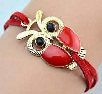 Браслет на шкіряному шнурку з фігуркою Сови червоного кольору, застібка/ланцюжок золотистого кольору, фото 1
