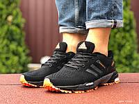 Кроссовки мужские в стиле Adidas Marathon, черные с оранжевым, фото 1