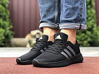 Кросівки чоловічі в стилі Adidas, чорні з салатовим, фото 1